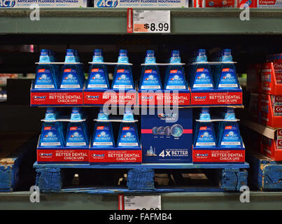 Large bottles of Crest Pro Health mouth wash for sale at BJ's Wholesale Club in Whitestone, Queens, New York. - Stock Photo