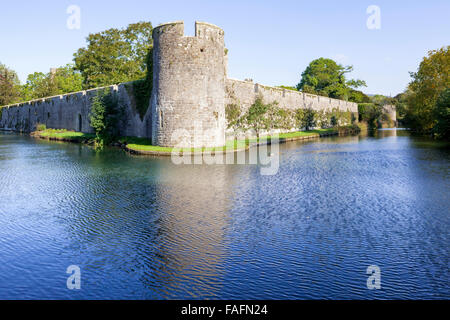 The 14th century moat surrounding the Bishops Palace in the cathedral city of Wells, Somerset UK - Stock Photo