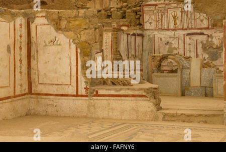 Turkey travel - the city of Ephesus, ancient Efes. Excavated exhibit of a group of Roman villas. Wall painting, - Stock Photo