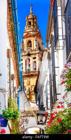 Flower Street Torre del Aliminar Tower Mezquita Cordoba Spain - Stock Photo