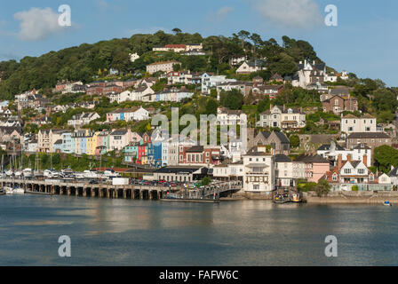 Views towards Kingswear, across the River Dart  from Dartmouth.  Devon, England. UK. - Stock Photo