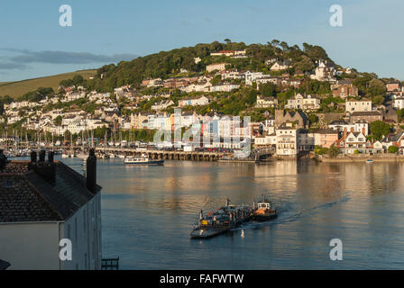 Views towards Kingswear, across the River Dart  from Dartmouth.  Includes the Dart Lower Ferry. Devon, England. - Stock Photo