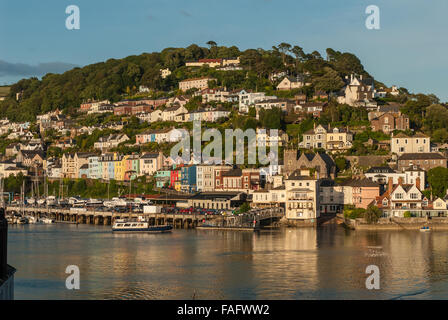 Views towards Kingswear, across the River Dart  from Dartmouth.  Includes the Dart passenger ferry. Devon, England. - Stock Photo
