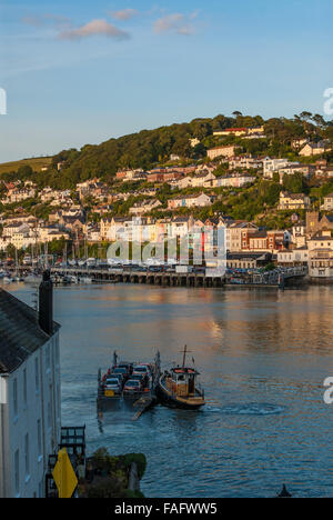 Views towards Kingswear, across the River Dart  from Dartmouth.  Includes the Lower Ferry. Devon, England. UK. - Stock Photo