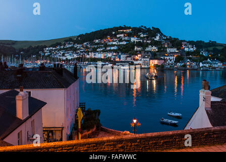 Views towards Kingswear, across the River Dart  from Dartmouth at twilight, Devon, England. UK. - Stock Photo