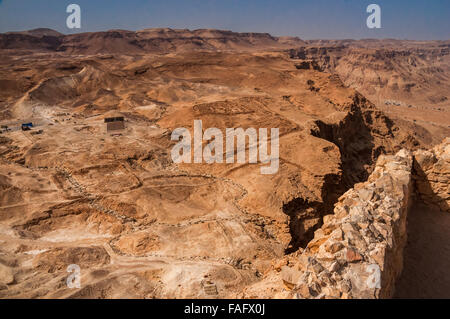 Masada - ancient fortress in the South of Israel, on the eastern edge of the Judean Desert overlooking the Dead - Stock Photo