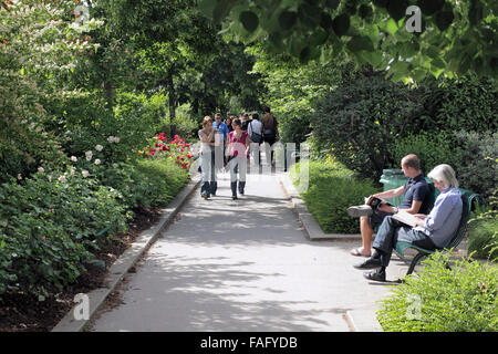 Part of the Promenade Plantee in Paris - a disused railway line converted into a landscaped walkway. - Stock Photo