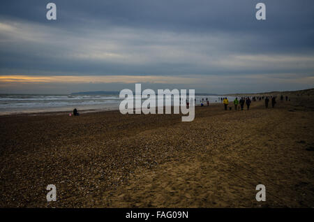 Camber Sands is the beach at the village of Camber (near Rye), East Sussex, England. It is the only sand dune system - Stock Photo
