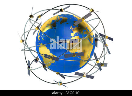 space satellites in eccentric orbits around the Earth - Stock Photo