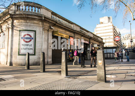 The entrance to the Temple underground station in London, UK. - Stock Photo