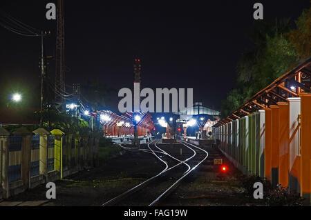 Train station at night in Yogyakarta, Indonesia, - Stock Photo