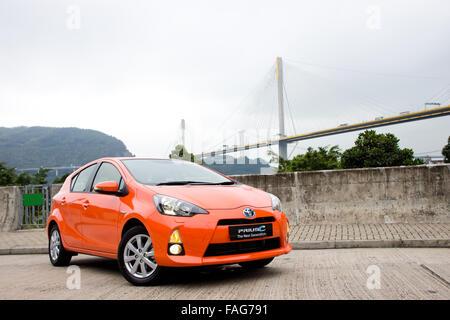 Hong Kong, China Feb 29, 2012 : Toyota Prius C Hybrid test drive on Feb 29 2012 in Hong Kong. Stock Photo