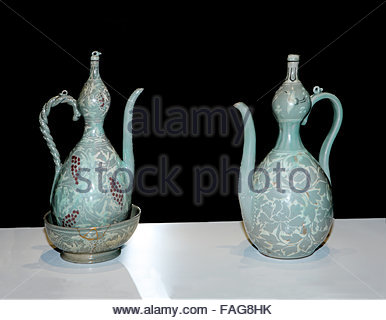 Gourd-shaped Celadon Ewer with Inlaid Peony Design - Stock Photo