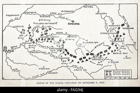 Battle of the Marne - Situation on September 9, 1914. World War I - Stock Photo