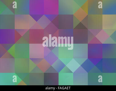 Abstract contemporary square pattern; blue green violet - Stock Photo