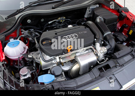Hong Kong, China OCT 29, 2010 : Audi A1 Hatchback engine room, on OCT 29 2010 in Hong Kong. - Stock Photo