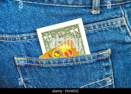 Banknote of one american dollar and Credit card Mastercard - Stock Photo