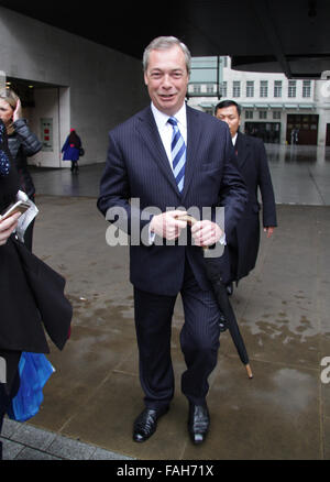 London, UK, 3rd May: Nigel Farage attends the Andrew Marr show at the  BBC, broadcasting House in London, UK - Stock Photo