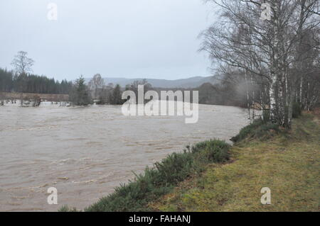 Images taken during the evacuation of Ballater during Storm Frank, 2015, Flooding, Village - Stock Photo