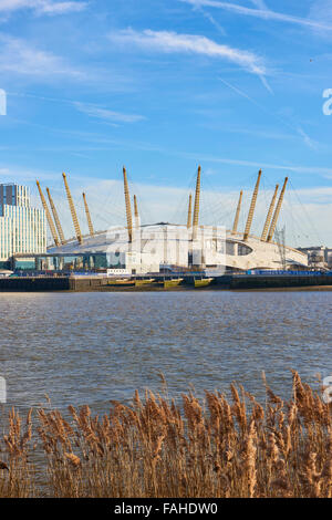 LONDON, UK - DECEMBER 28: The O2 Centre, formerly known as Millennium Dome, in a sunny blue sky day. December 28, - Stock Photo