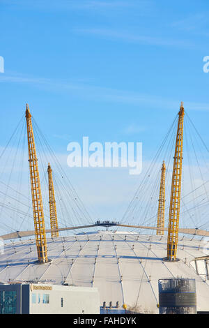 LONDON, UK - DECEMBER 28: Visitors at top of O2 Centre, formerly known as Millennium Dome, in a sunny blue sky day. - Stock Photo