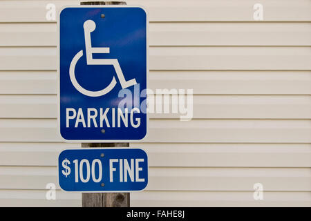 Handicapped Parking Sign Copy Space - Stock Photo