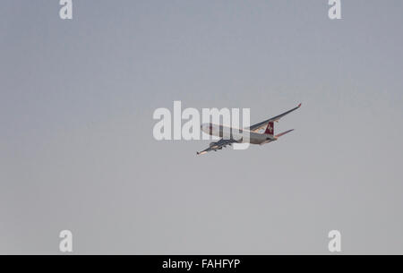 An Airbus A330 of Swiss International Air Lines during climb flight after take-off from Zurich international airport. - Stock Photo