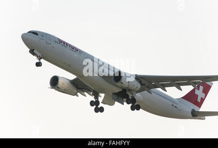 An Airbus A330 of Swiss International Air Lines during take-off from Zurich international airport. - Stock Photo