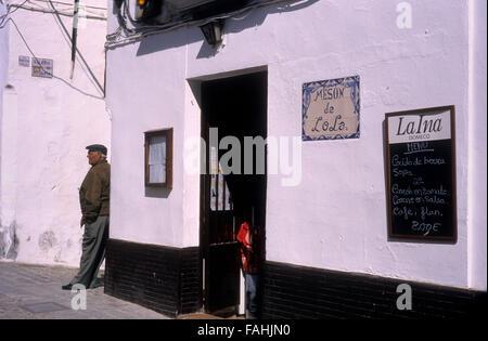 Street scene in Boticas street.  Arcos de la Frontera, Andalucia, Spain - Stock Photo