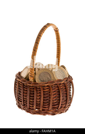 Turkish coins in basket with isolated white background - Stock Photo