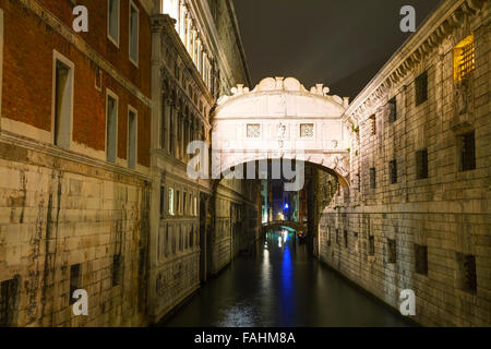 Bridge of sighs in Venice, Italy at the night time - Stock Photo
