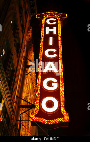 CHICAGO - SEPTEMBER 7: Chicago theather neon sign on September 7, 2015 in Chicago, IL. - Stock Photo