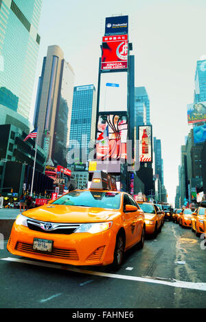 NEW YORK CITY - SEPTEMBER 04: Yellow cab at Times square in the morning on October 4, 2015 in New York City.