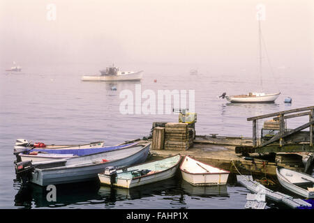 Boats docked in Five Islands, Maine - Stock Photo