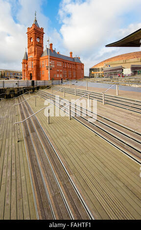 The Pierhead Building and the steps of the Senedd Welsh Assembly building at Cardiff Bay in Wales UK - Stock Photo