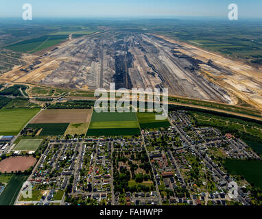 Aerial view, lignite, brown coal mining Garzweiler in Juchen, energy, lignite excavator, bucket wheel excavators, - Stock Photo