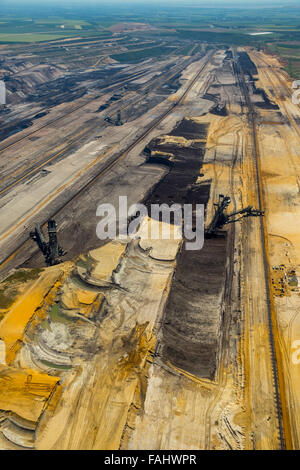 Aerial view, lignite, brown coal mining Inden near Jülich, bucket wheel excavators, lignite excavators, coal, Inden, - Stock Photo