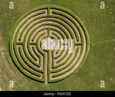 Aerial view, labyrinth, hedge maze, maze, friends and supporters of the educational center St. Boniface Elkeringhausen - Stock Photo