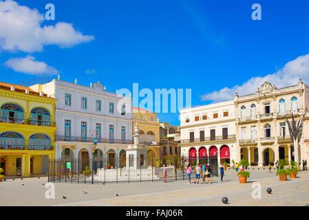 Plaza Vieja in Old Havana, Cuba - Stock Photo