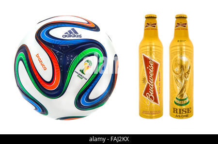 Adidas Brazuca World Cup 2014 Football with Bottles for Budweiser, The Official Match ball and Beer for the 2014 - Stock Photo