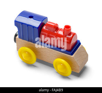 Kids Play Toy Train Engine Isolated on a White Background. - Stock Photo
