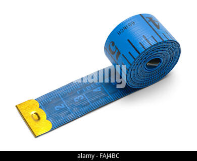 Blue Sewing Tape Measure Isolated on a White Background. - Stock Photo