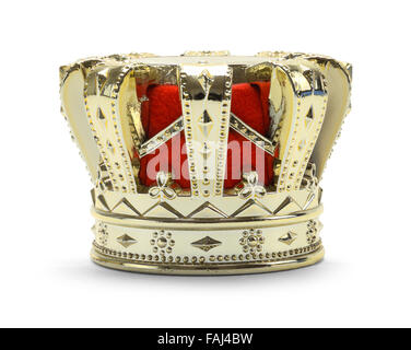 Gold Kings Crown with Red Felt Isolated on a White Background. - Stock Photo