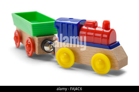 Kids Play Toy Train Engine and Car Isolated on a White Background. - Stock Photo