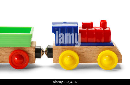 Kids Play Toy Train Isolated on a White Background. - Stock Photo