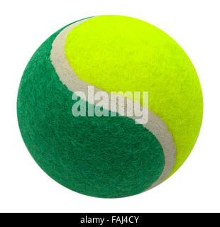 Two Tone Green and Yellow Tennis Ball Isolated on a White Background. - Stock Photo
