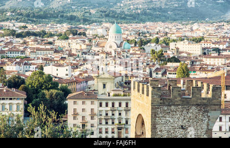Great Synagogue and San Niccolo in Florence, Tuscany, Italy. Cultural heritage. Urban scene. - Stock Photo