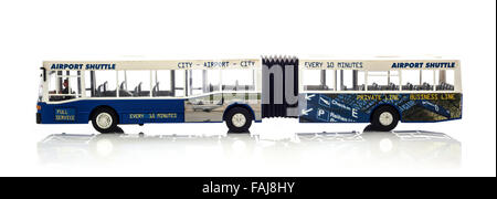 Model of a Bendy Airport Shuttle Bus on a White Background - Stock Photo