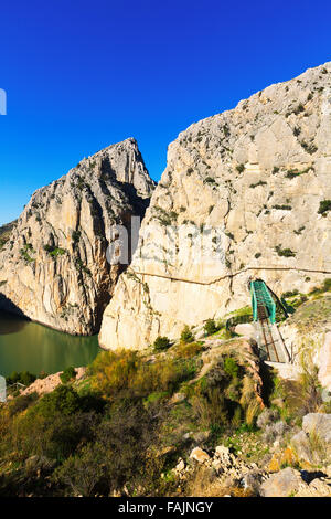 General view of  Caminito del Rey with Railway bridge in rocky mountains. Andalusia, Spain - Stock Photo