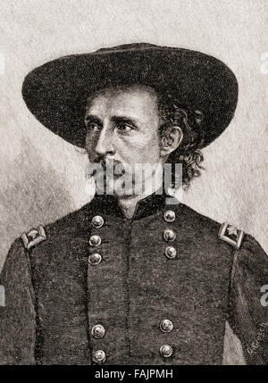 George Armstrong Custer, 1839 – 1876.   United States Army officer and cavalry commander in the American Civil War - Stock Photo